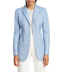 akris punto women's gan single-breasted cashmere & silk twill jacket - ice - size 12