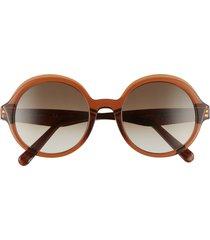 salvatore ferragam gancini 52mm round sunglasses -
