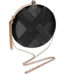 bolsa clutch liage redonda cetim e metal pingente franja preta e dourada