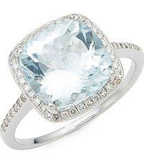 14k white gold aquamarine & diamond cushion-cut ring