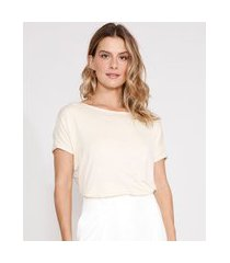 blusa ampla de viscose manga curta decote redondo bege claro