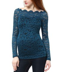 kimi + kai jade lace overlay maternity blouse