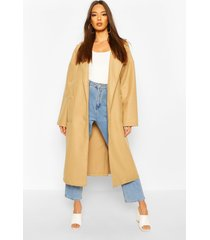 oversized button through wool look coat, camel