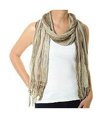 cotton batik scarf, 'olive paths' (thailand)