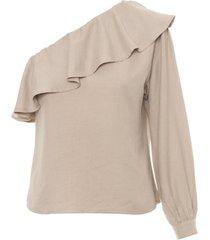 blusa feminina ombro só - bege