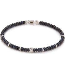 'nodo precious' sapphire bead rhodium silver bracelet