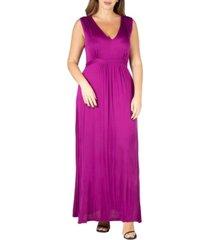 24seven comfort apparel women's plus size empire waist maxi dress