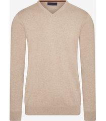michaelis cremekleurige pullover | v-hals | katoen | shirtdeal