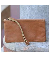 leather wristlet, 'cepuk secret in brown' (indonesia)