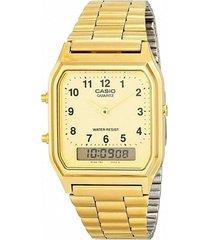 reloj análogo dorado casio