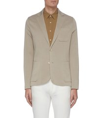notch lapel silk-cotton blend tailored blazer