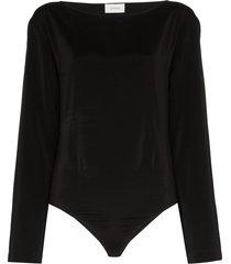 lemaire long-sleeve silk bodysuit - black