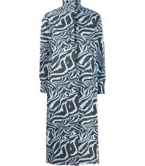 ganni tiger swirl print long-sleeved dress - blue