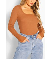 ribbed square neck top, camel