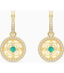 orecchini a cerchio swarovski symbolic mandala, verde, placcato color oro