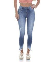 calça jeans denim zero skinny cigarrete média com puídos feminina