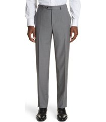 men's canali micro dot regular fit flat front wool trousers, size 34 us/ 50 eu x - grey