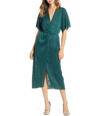 women's all in favor dolman plisse midi dress, size small - green