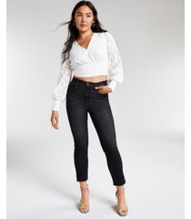 bar iii jacquard cropped blouse, created for macy's