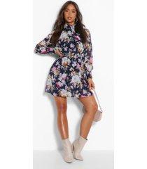 bloemenprint chiffon skater jurk met strik, navy