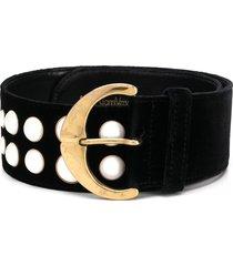 versace pre-owned pearl detail belt - black