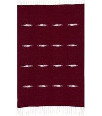 native yoga thunderbird blanket burgundy cotton