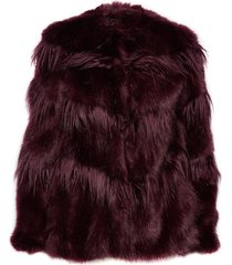 chvron faux fur coat outerwear faux fur rood michael kors