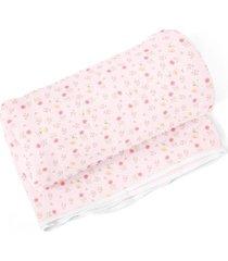 cobertor papi floral rosa - kanui