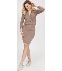 dzianinowa sukienka - suk009 mocca mkm
