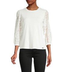 t tahari women's mesh sleeve blouse - star white - size l