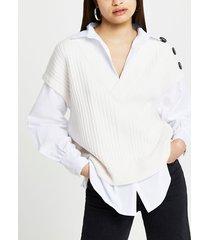 river island womens cream button shoulder tank shirt