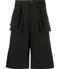 frankie morello flared bermuda shorts - black