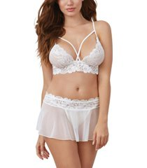 dreamgirl women's 3 piece set - lace strappy bralette, mesh skirt and g-string
