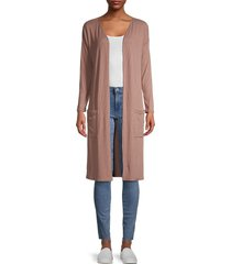 love ady women's ribbed open-front cardigan - cocoa - size xs