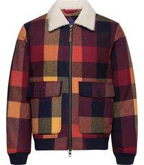 d2. wool check flight jacket wollen jack jack rood gant