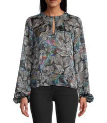 robert graham women's elizabeth printed burnout blouse - black - size xs