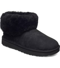w classic mini fluff shoes boots ankle boots ankle boot - flat svart ugg