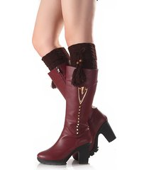 women twist ginocchio knit calzini calzini calzamaglia boot boots flanging crochet