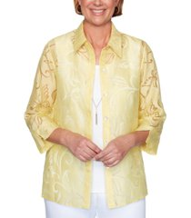 alfred dunner spring lake burnout-pattern layered-look top
