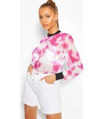 long sleeve tie dye mesh top, pink