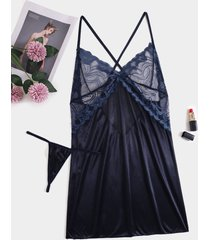 conjunto de lencería cruzada con diseño sin espalda azul marino