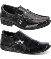 kit 2 pares de sapato social infantil leoppé em couro - masculino