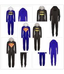 stunning unisex mens and women ladies superman print sale jumpsuit hooded hot!
