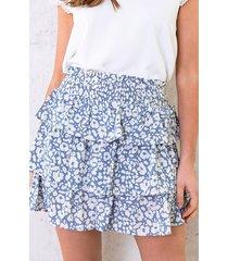 panterprint laagjes rok lichtblauw