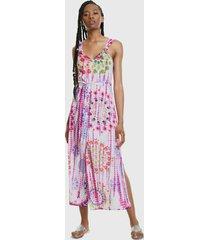 vestido desigual largo multicolor - calce regular