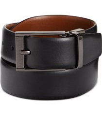 perry ellis portfolio men's leather men's leather reversible feather edge soft touch cowhide belt