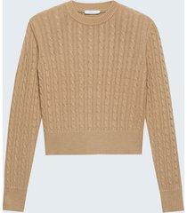 motivi maglia a trecce misto lana donna marrone