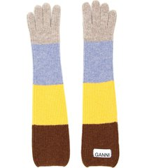 ganni multicolor striped gloves