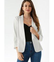 yoins bolsillo blanco diseño chaqueta frontal abierta de manga larga