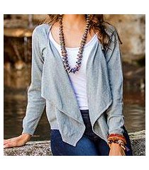 cotton cardigan sweater, 'cotton cloud' (guatemala)